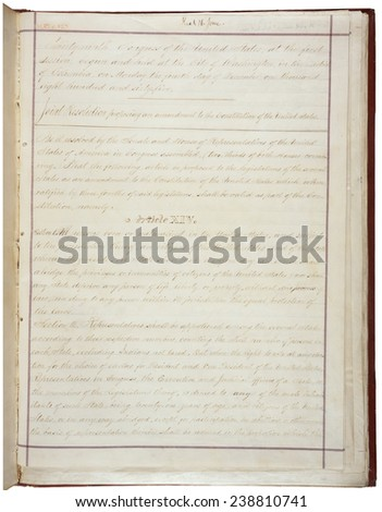 14th Amendment to the U.S. Constitution: Civil Rights (1868) Passed by Congress June 13, 1866, and ratified July 9, 1868, extended liberties and rights granted by the Bill of Rights to former slaves. - stock photo