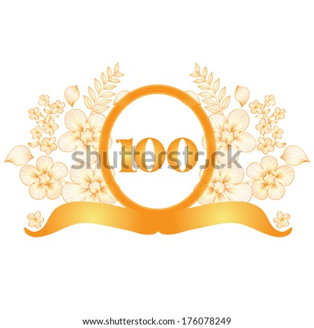 100th anniversary golden floral banner, design element - stock photo