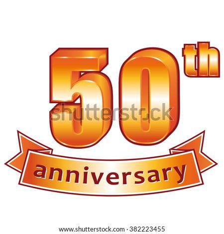 50th anniversary. Golden label. - stock photo