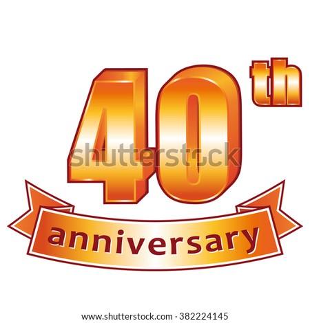 40th anniversary. Golden label. - stock photo