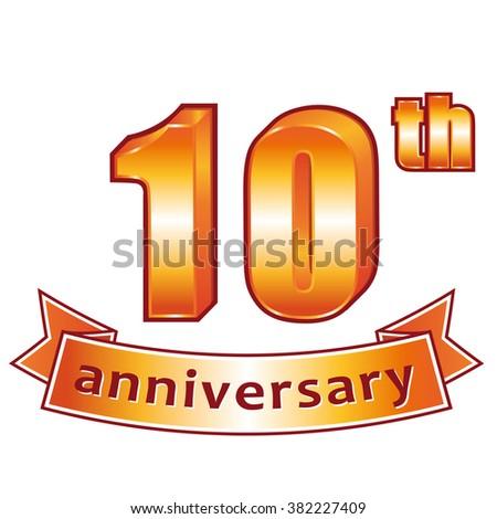 10th anniversary. Golden label. - stock photo