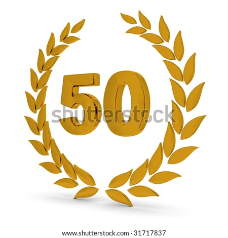50Th Anniversary Golden Laurel Wreath. Part of a series of wreaths, awards and trophies.