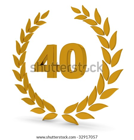 40th Anniversary Golden Laurel Wreath. Part of a series of wreaths, awards and trophies. - stock photo