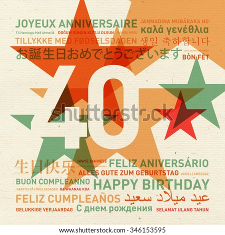 40th anniversary happy birthday from the world. Different languages celebration card