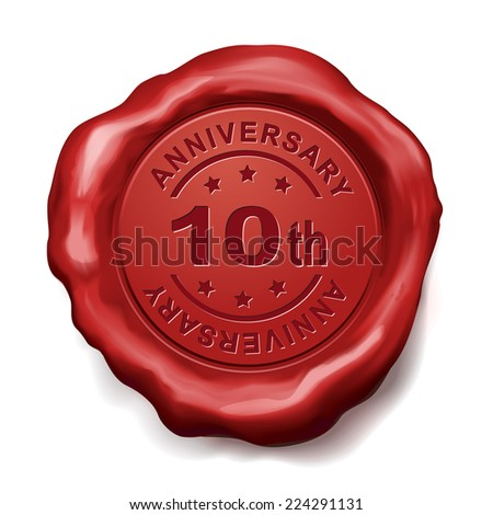 10th anniversary red wax seal over white background
