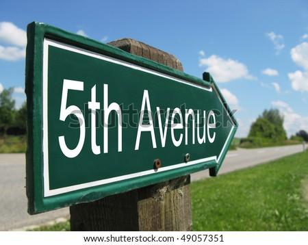 5th AVENUE road sign - stock photo