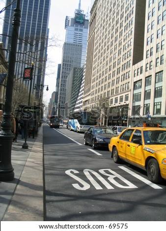 5th avenue street and sidewalk in manhattan, new york city - stock photo