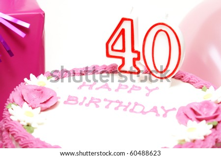 40th Birthday Cake - stock photo