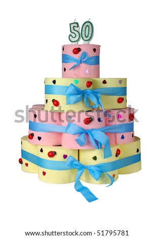 50th birthday cake made from toilet paper - stock photo