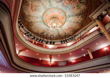 19th Cahors classical theater in France with paintings on ceiling and balcony - stock photo