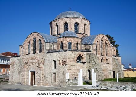 10th century byzantine church of Panagia Kosmosotira at Feres, Evros, Greece. - stock photo
