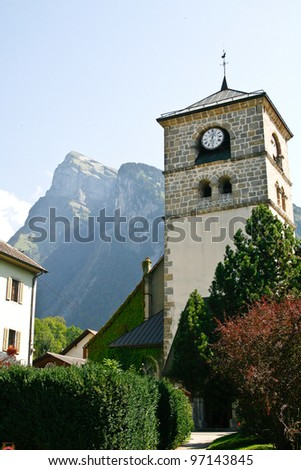 16th century church in samoens, France. set in the french alps - stock photo