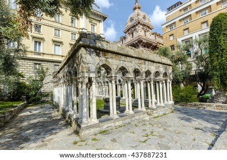 12th century cloisters standing in a small garden (between Porta Soprana and Christopher Columbus' house) - are all that remain of the convent that once stood here. Genoa, Italy. - stock photo