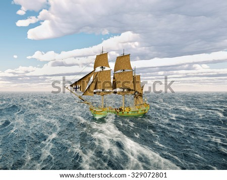 18th century corvette in the stormy ocean Computer generated 3D illustration - stock photo
