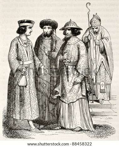 12th century costumes of noblemen and bishop. Created by Herbe, published on Magasin Pittoresque, Paris, 1844