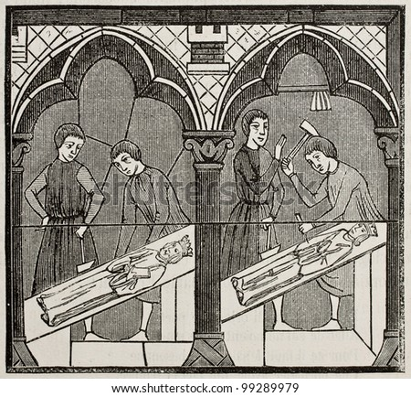 13th century craftsmen in a glass window of Chartres cathedral. By unidentified author, published on Magasin Pittoresque, Paris, 1882. - stock photo