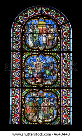 13th century medieval stained glass window from a cathedral in Burgundy, France