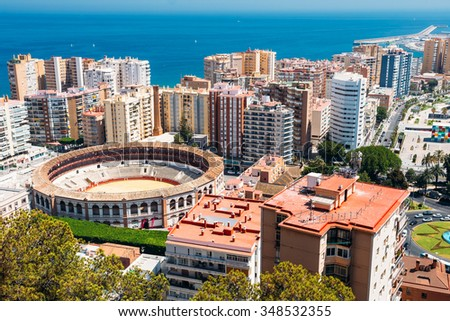 18th Century Plaza de Toros de Ronda bullring in Malaga, Spain. La Malagueta is the bullring Malaga, Spain