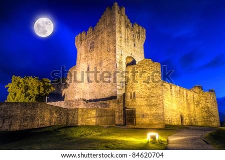 15th Century Ross castle at night, Co. Kerry - Ireland - stock photo