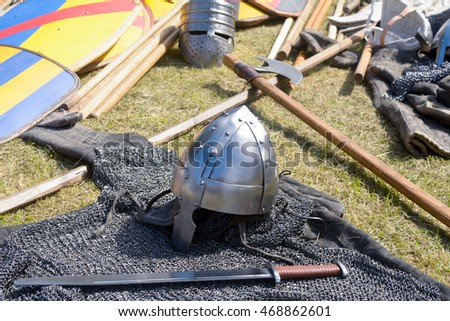 12th Century style weapons with armour, helmet and swords