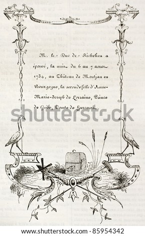 18th century wedding card. By unidentified author, published on Magasin Pittoresque, Paris, 1842 - stock photo