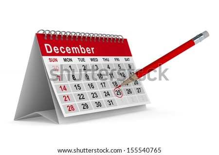 25th December. Isolated 3D image - stock photo