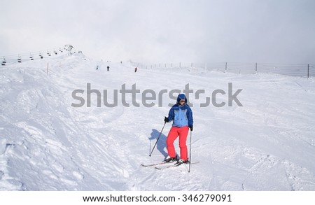 10th February 2013.: Skier on ski slope on Krvavec in Slovenian Alps - stock photo