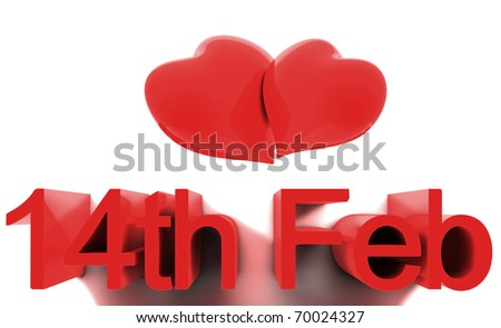 14th February, St. Valentines Day. 3D render concepts - stock photo