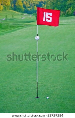 15th hole of the golf course - stock photo
