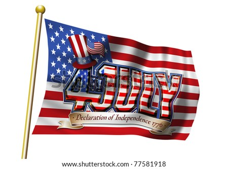 4th July Graphic flag with clipping path