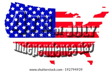 4th July Independence day isolated on white background