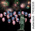 4th July Independence day of United States of America. Statue of Liberty balloons and fireworks - stock photo