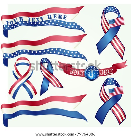 4th July Independence day ribbon set - stock photo