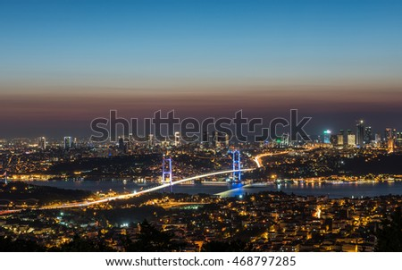 15th July Martyrs Bridge ( 15 Temmuz Sehitler Koprusu ) Bosphorus Bridge at night Istanbul / Turkey