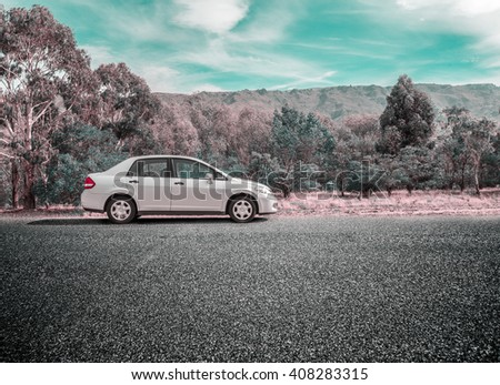 20th, March 2016: New zealand south island,  car park on  road
