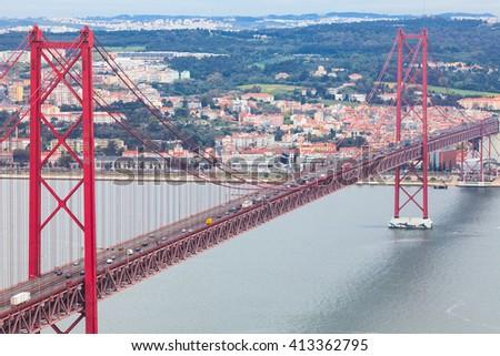 25th of April Bridge (Vasco da Gama Bridge). Lisbon, Portugal - stock photo