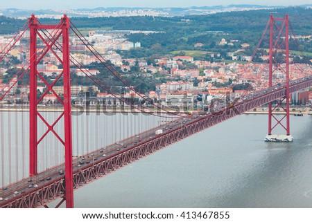 25th of April Bridge (Vasco da Gama bridge). Lisbon. Portugal. - stock photo