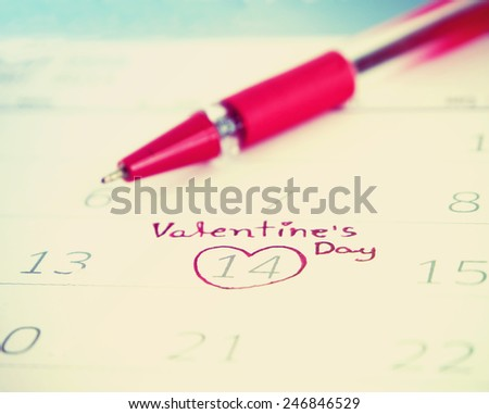 14th of February with heart - stock photo