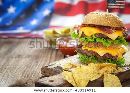 4th of July American Cheeseburgers with copy space