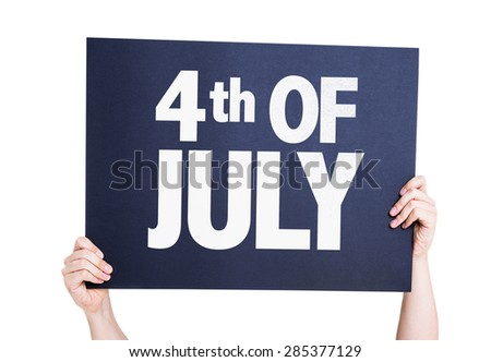 4th of July card isolated on white