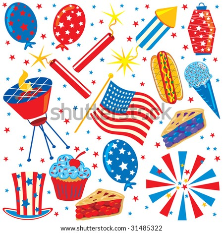 4th of July Clip art Party Elements