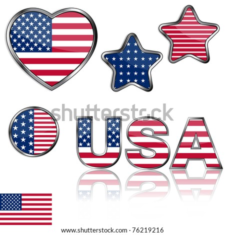 4th of july design elements collection - stock photo