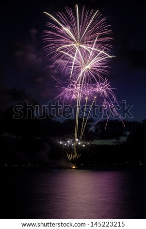 4th of july fireworks in kailua - stock photo