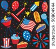 4th of July party elements and icons - stock photo