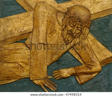 9th Station of the Cross, Jesus falls the third time - stock photo