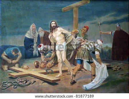 10th Station of the Cross - Jesus is stripped of His garments - stock photo