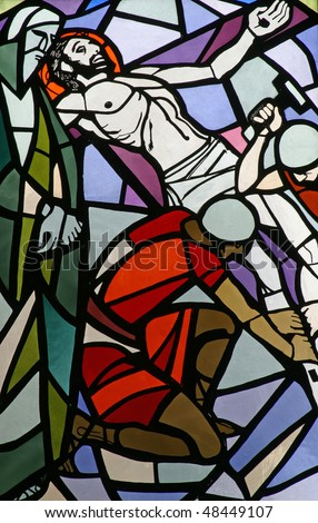 11th Stations of the Cross, Crucifixion: Jesus is nailed to the cross - stock photo