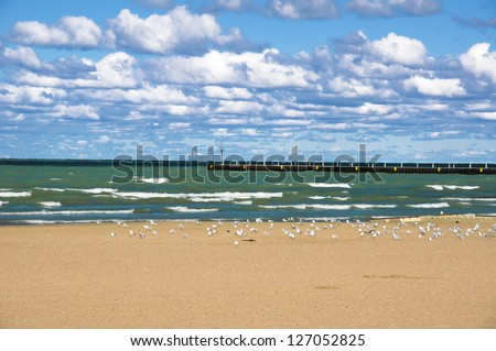 57th Street Beach, one of the beaches located on the shores of lake Michigan (Chicago, Illinois). - stock photo