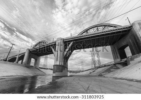 6th street bridge and Los Angeles river near downtown LA. - stock photo