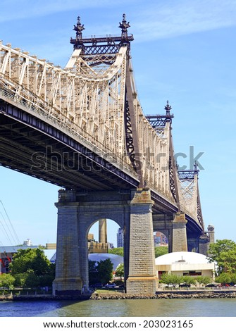 59th Street Bridge (Queensboro Bridge) over and East River, New York City - stock photo